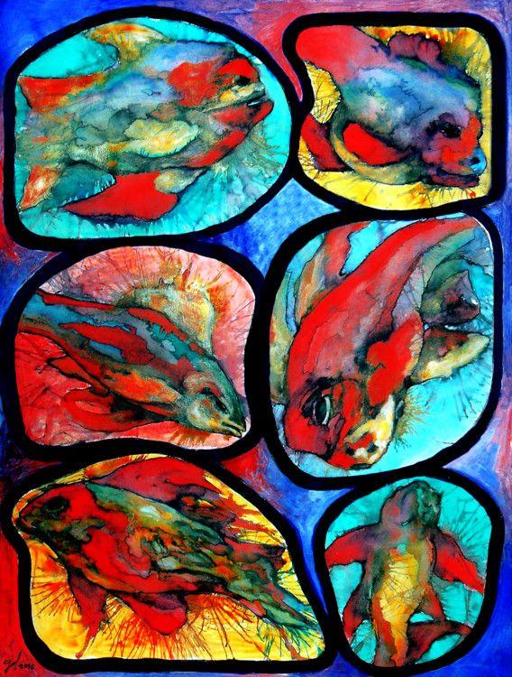 Couleur nature poissons peinture 50x65 cm 2016 par for Art conceptuel peinture