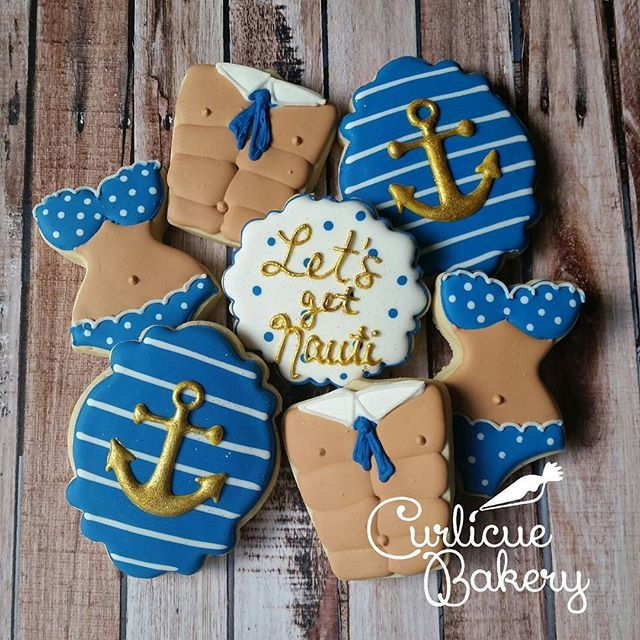"""Let's Get Nauti!"" Bachelorette cookies for a ladies weekend in Gulf Shores!  love you girls. - #decoratedcookies #customcookies #houston #texas #bacheloretteweekend #Bachelorette #love #wedding #nautical #edibleart #food #shopsmall #supportsmallbusiness #3Dprinters"