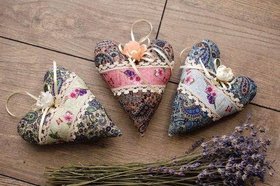 3 pcs set  Valentines Provence Hearts Gift heart Cotton Heart