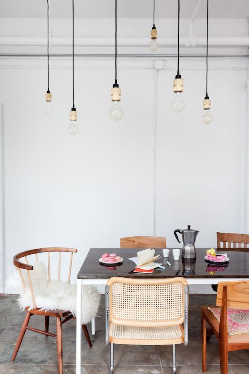In designing a fun, warm kitchen where people feel welcome, a set of mismatched chairs on the opposite end of the bench for our table would be great