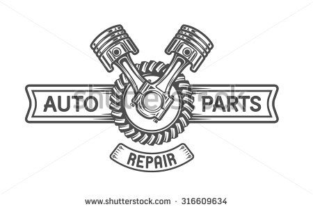 Repair Service. Gear and pistons. Auto emblem. - stock vector