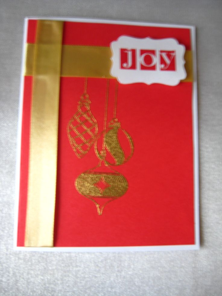 Stampin Up Joy, and gold ornament embossing