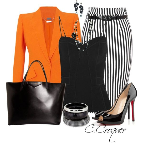 Business like clothing additions Pop of color in the jacket-adds fun to the outfit Necklace   sweetheart neckline top-adds glam Pencil skirt-adds wild flare to outfit