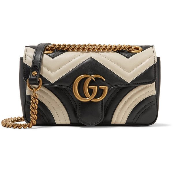 Gucci GG Marmont mini two-tone quilted leather shoulder bag (101.130 RUB) ❤ liked on Polyvore featuring bags, handbags, shoulder bags, black, gucci purse, mini shoulder bag, quilted handbags, structured handbags and quilted shoulder bags