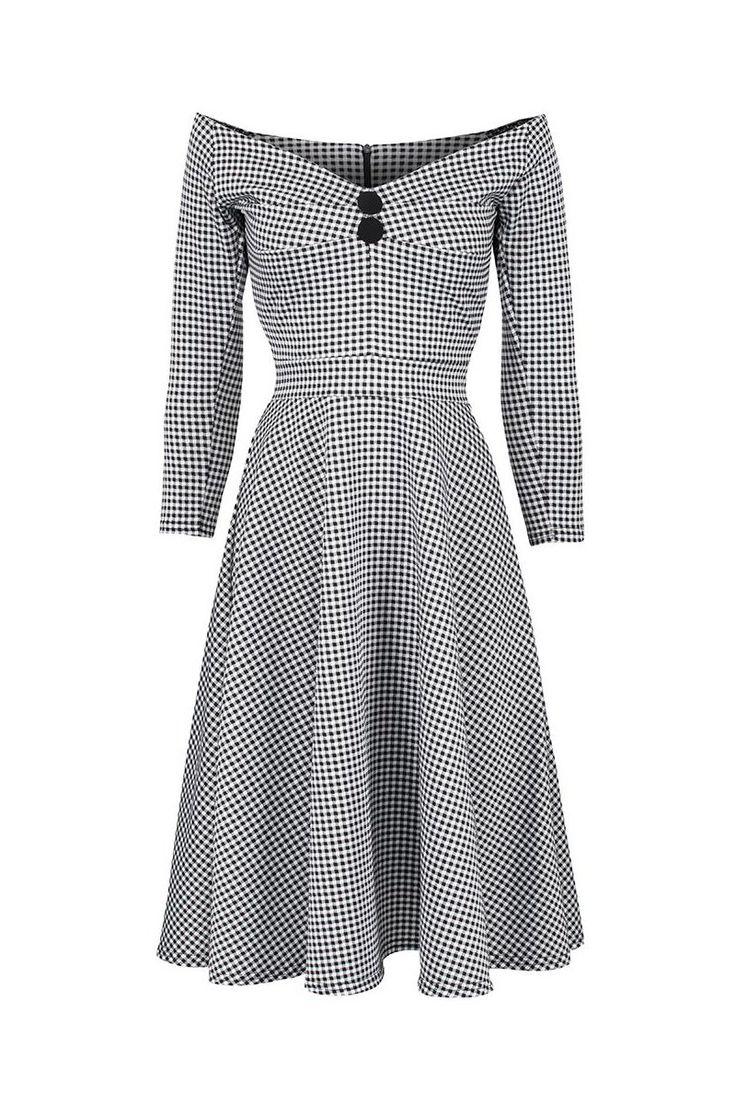 Vintage Black White Jersey Gingham Check 3/4 Sleeve Swing Dress