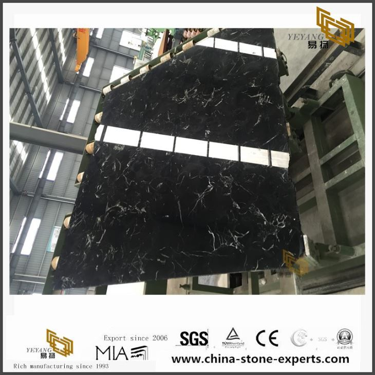 Highly Competitive New Nice Black Ice Flower Marble Slabs for Sale