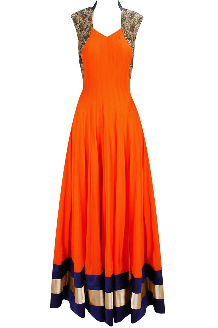 Orange and blue anarkali set with gold embroidery available only at Pernia's Pop-Up Shop.