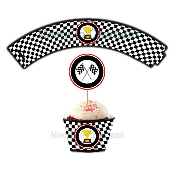 Race car theme cupcake wrappers . Birthday by MoonGloCreations