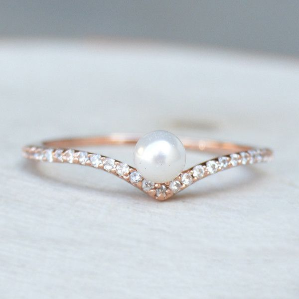 http://rubies.work/0898-sapphire-pendant/ Chevron V Pearl Ring - Rose Gold - The Faint Hearted Jewelry
