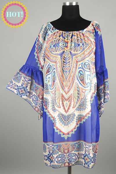 *** New Style *** Flirty Sheer Chiffon Drop Waist Dress with Bell Sleeves in Exotic Multi Color Paisley Tribal Print.