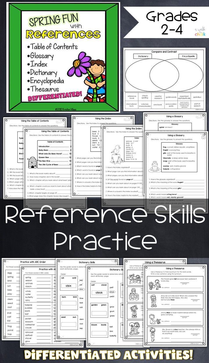 Spring Fun with References | Language Arts 3-5 | Word reference ...