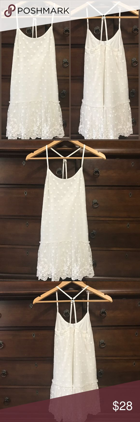 Girls Abercrombie Scalloped Lace Polka Dot Dress SO Pretty and in beautiful condition!! Two layers with a Sheer Polka dot Lace overlay with scalloped edging 💕 Would make a perfect child's summer wedding/showers dress or for church...Size Medium or 12 see pic 8 for Abercrombie's size chart...offers welcome, bundle to save more plus ⚡️📦📫😃💕 Abercombie Kids Dresses