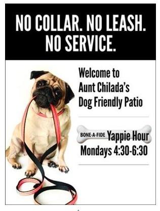 Yappy Hour! Dogs on the patio! Mondays 4:30 to 6:30 pm!  Aunt Chiladas in Phoenix!   https://www.facebook.com/pages/Aunt-Chiladas/187419138352?ref=stream_location=stream