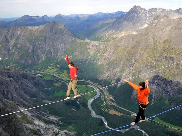 Alexander Lauterbach and Julien Millot, Highlining Trollveggen, Norway. Photo by Branislav Beliancin