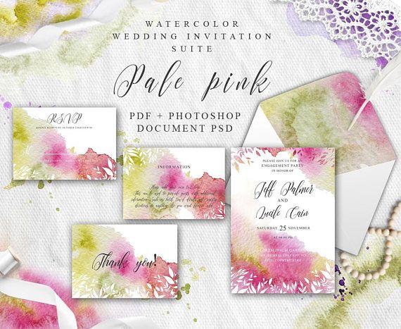 Pink Wedding invitation template Printable invitation Pink wedding set Wedding suit PDF Watercolor splash Instant download Pale pink cards #wedding #invitation #cards #pink #watercolor