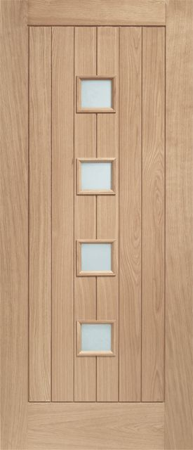Siena Oak External Door with Obscure Glazing 44mm mortice & tenon single external oak door. Supplied unfinished. Engineered oak construction for greater strength and stability. Double glazed with obscure toughened glass. 10 years manufacturing guarantee. FSC certified. Indicative U-Value 2.6 W/m2K. Contemporary oak front door featuring centrally positioned, four small square vision panels and vertically laid wooden panels. Ideally suited for modern properties. Optional matching door ...