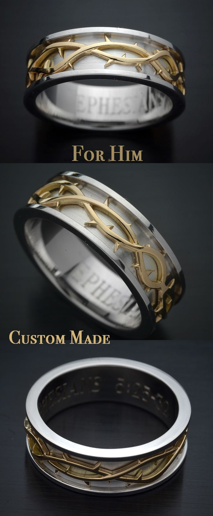 Two Tone Gents Wedding Band  Made in 14kt white band and 18kt Yellow crown of thorns. Engraved inside custom text.  $1200