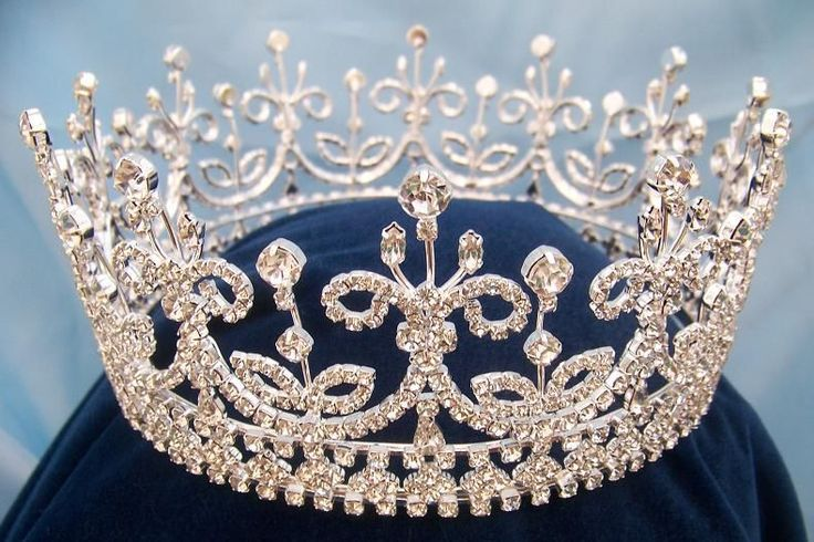 "Daughters of Ireland and Britain Full Rhinestone Crown ~ A style ""take off,"" or a recreation of, the Girls of Great Britain and Ireland tiara that is Queen Elizabeth's favorite, and was Queen Mary's also! Queen Elizabeth calls it ""Granny's Favorite."""