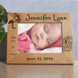Personalized stork and blocks new baby wooden engraved picture frame