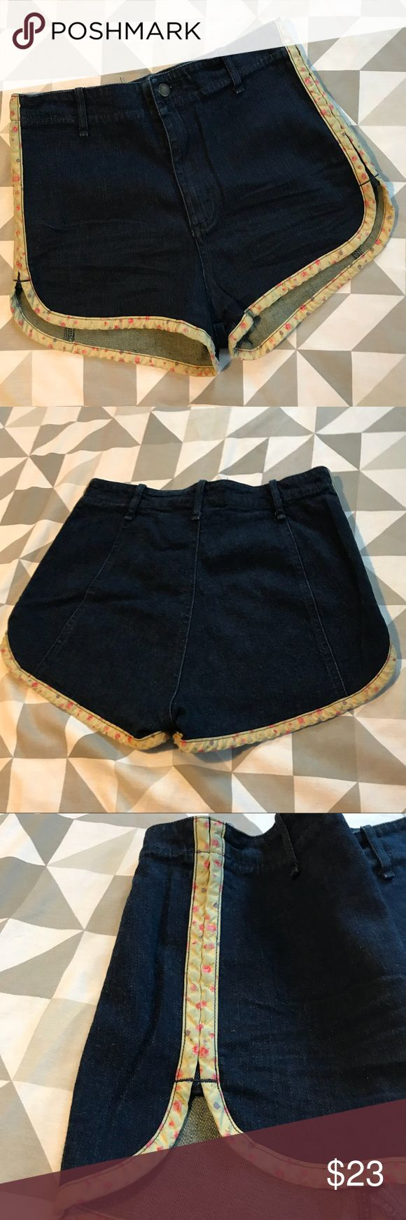 EUC UO Grey Antics Daisy Dukes Daisy Duke shorts hot pants in dark denim with pastel floral stripes down the sides. Size 28. Urban Outfitters Shorts Jean Shorts