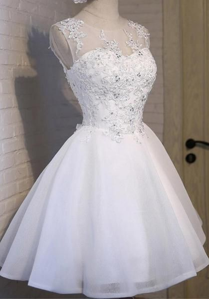 White Lace Open Back Sexy Homecoming Prom Dresses, Cheap Homecoming Dresses, CM281