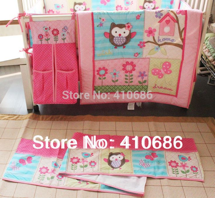Free Shipping New Arrival Girl Printing embroidery Owl Bird Pink 100% cotton baby bedding includes Quilt Bumper bed Skirt Mattress Cover 4pcs bedding set. Description from dhgate.com. I searched for this on bing.com/images