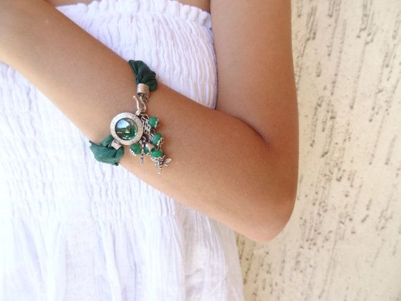 Jade Bracelet Emerald Green Turkish Silk Bracelet Silver