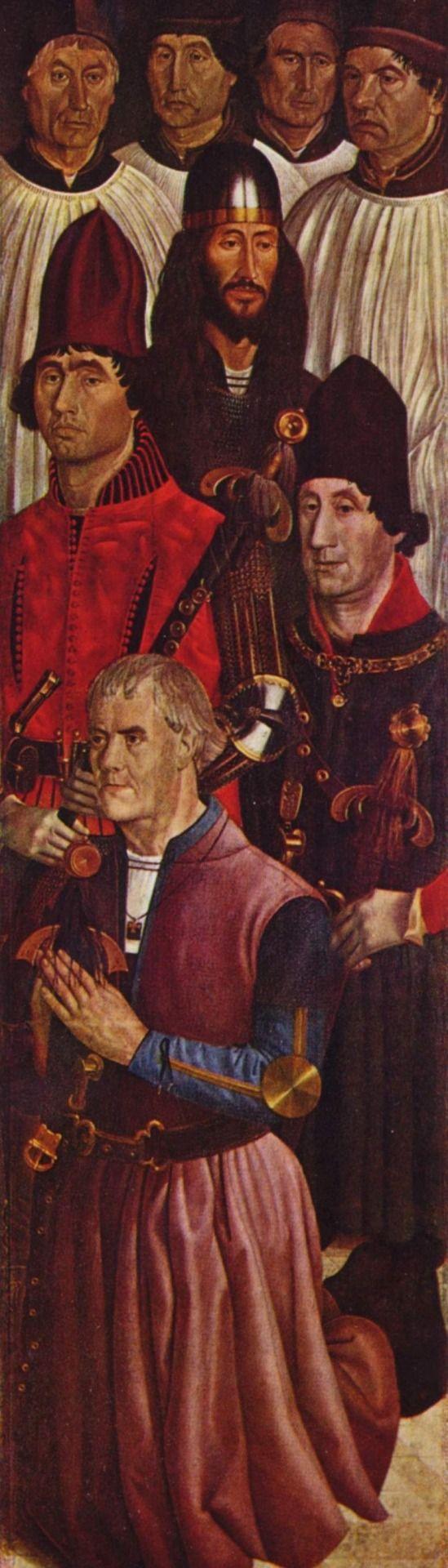 Nuño Gonçalves. Vinzenz-Altar, Flügel: Die Ritter mit kniendem Stifter. 1465-1467, Holz, 207 × 61 cm. Lissabon, Museu Nacional de Arte Antiga. Portugal. Renaissance. KO 02948