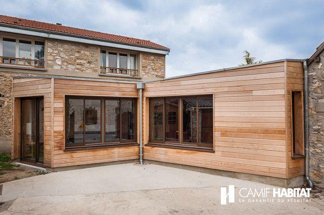 Extension de maison en bois en Yvelines. http://www.camif-habitat.fr/projet-immobilier/travaux-creer-extention-bois.php