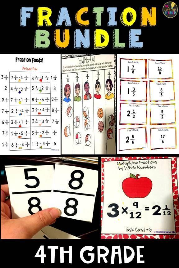 4th Grade Fractions Bundle | 4th grade fractions, Math ...
