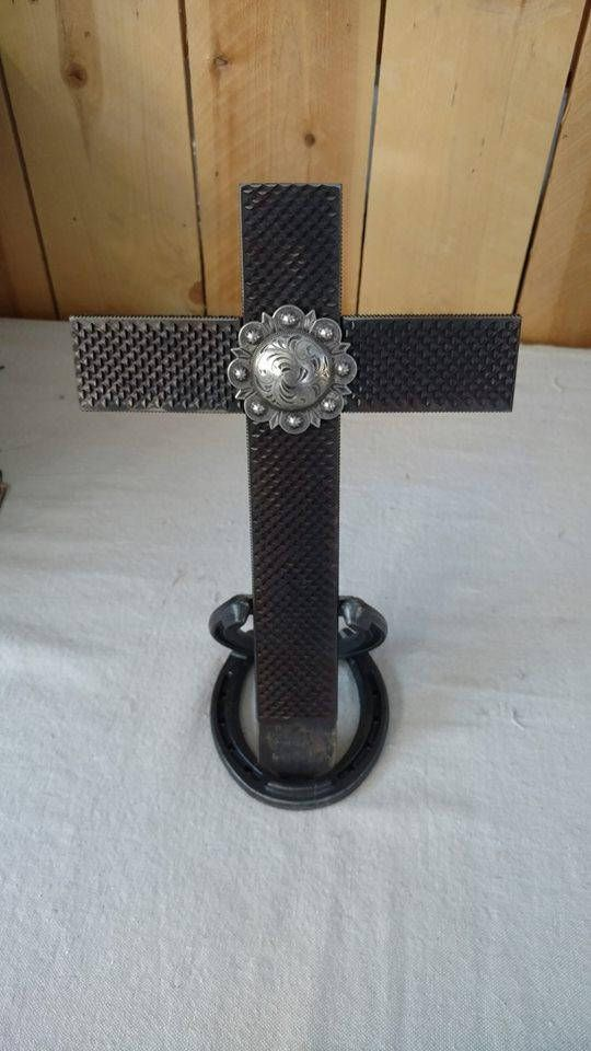 Horseshoe Rasp Cross with stand