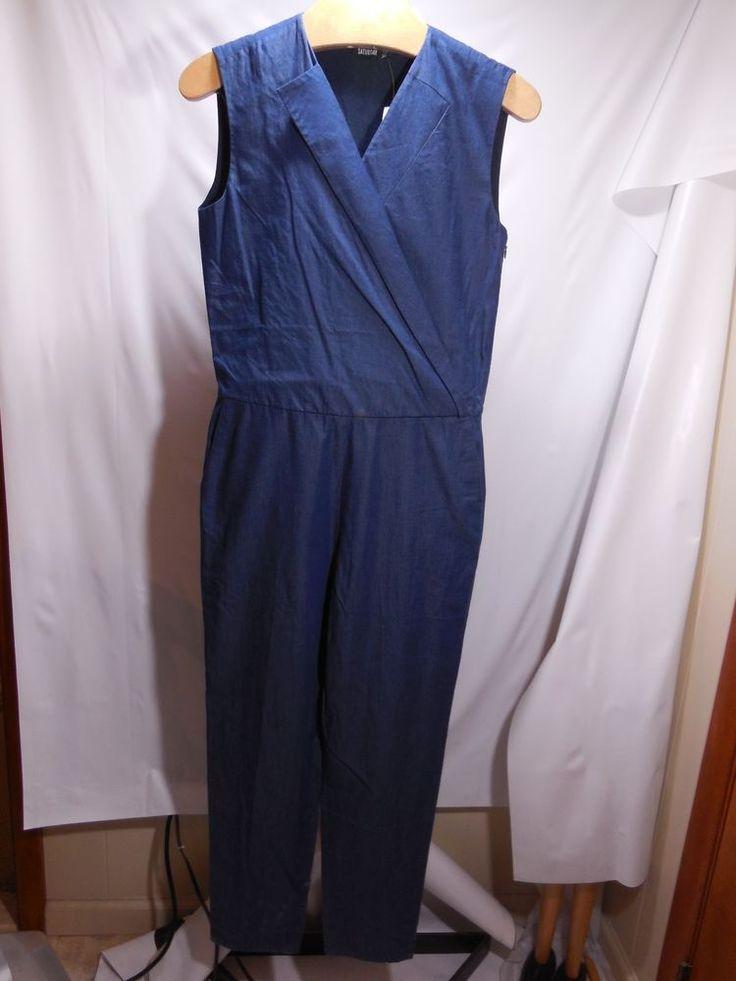 MISSES BLUE CHAMBRAY DENIM KATE SPADE SATURDAY VEST JUMPSUIT 4 6 $180 4CMU0508 #katespade #jumpsuit #WeartoWork
