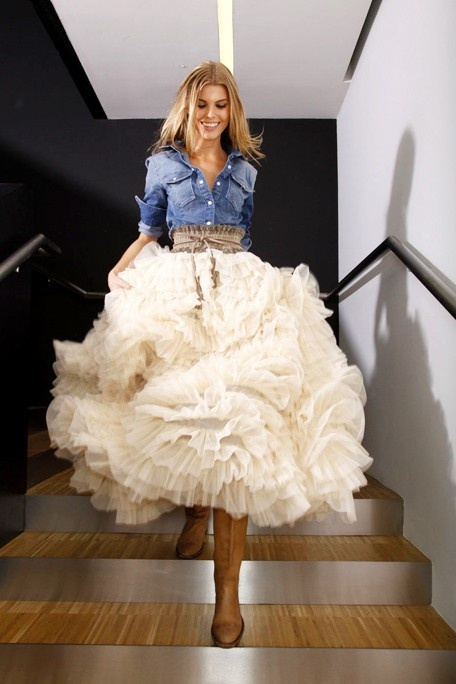 Denim with layered cream skirt- love!   # Pin++ for Pinterest #