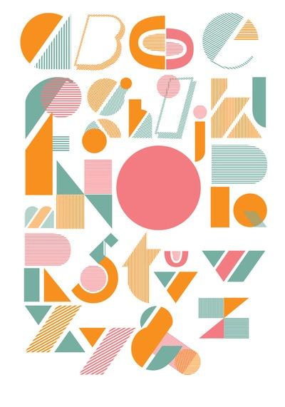 Geo alphabet from Design Milk (great colors too): Design Milk, Alphabet Fonts, Art Prints, Alphabet Poster, Typography Design, Design Typography, Geoalphabet, Typography Alphabet, Geo Alphabet