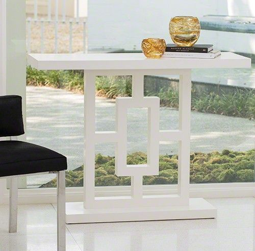 Global Views Grid Block White Lacquer Console
