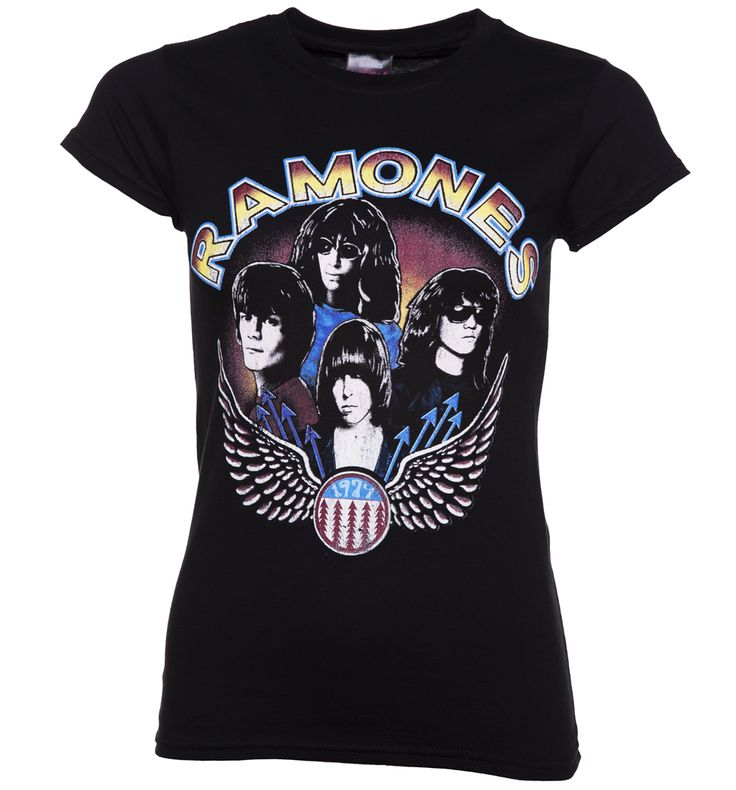 Womens Black Vintage Wings Ramones T-Shirt We love the cool vintage, seventies vibe of this official Ramones Tee! Featuring the band members Johnny, Joey, Dee Dee and Tommy this is a real winner for all you punk rockers! http://www.MightGet.com/may-2017-1/womens-black-vintage-wings-ramones-t-shirt.asp