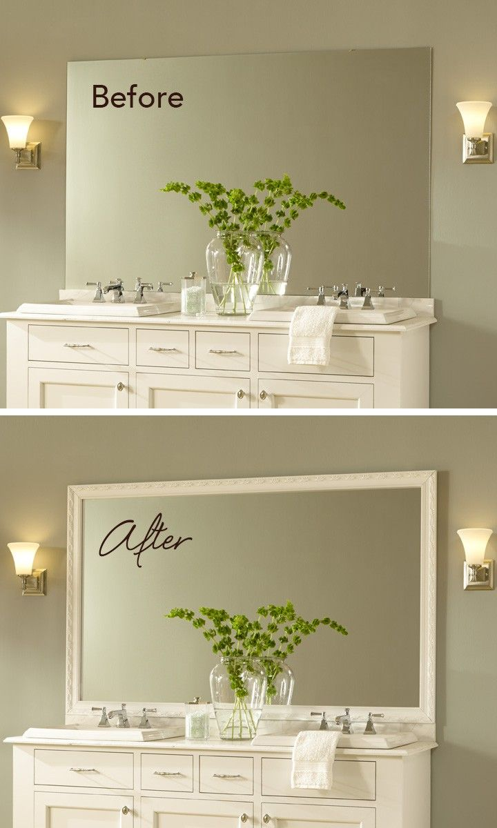 Framed and fabulous: a DIY MirrorMate frame kit adds a great custom detail and finished look to the bathroom.