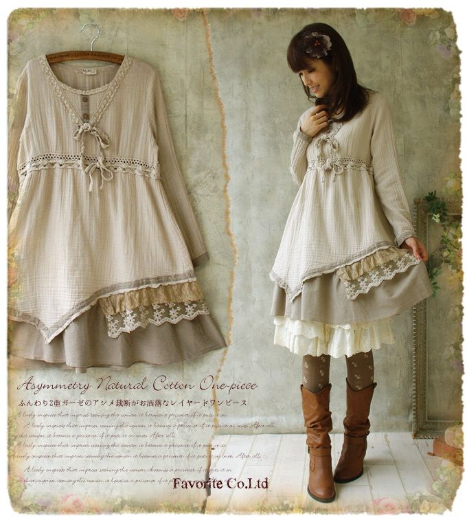 Autumn Japanese Mori Girl Style Cotton Drawstring Lace Long Sleeve Knee Length Faux Two piece Dress Forest Girl Plus Size on Aliexpress.com