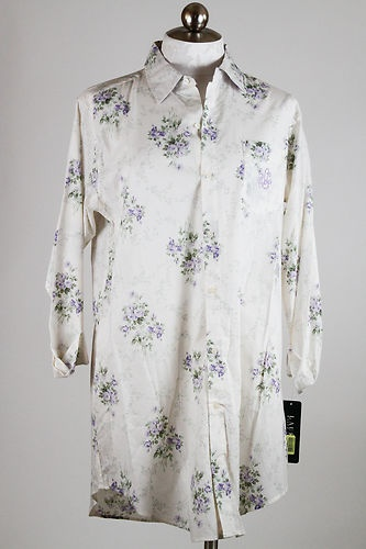 Ralph Lauren Cotton Nightshirt Purple Roses Medium | eBay