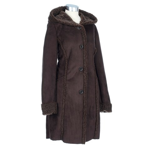 Faux Shearling Coat with Hood