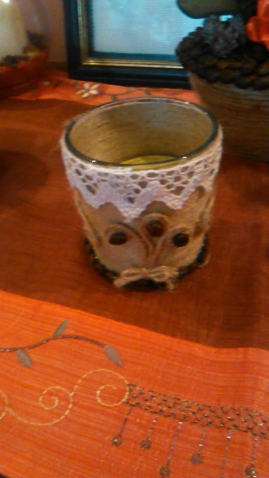 candela decorata con corda juta e chicchi di caffè