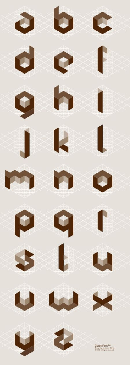 CW <3 took me a long time to get the concept of creating these by hand~Cubic alphabet by Svetoslav Simov.