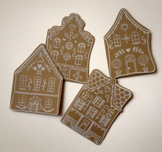 hand-painted gingerbread house greeting cards