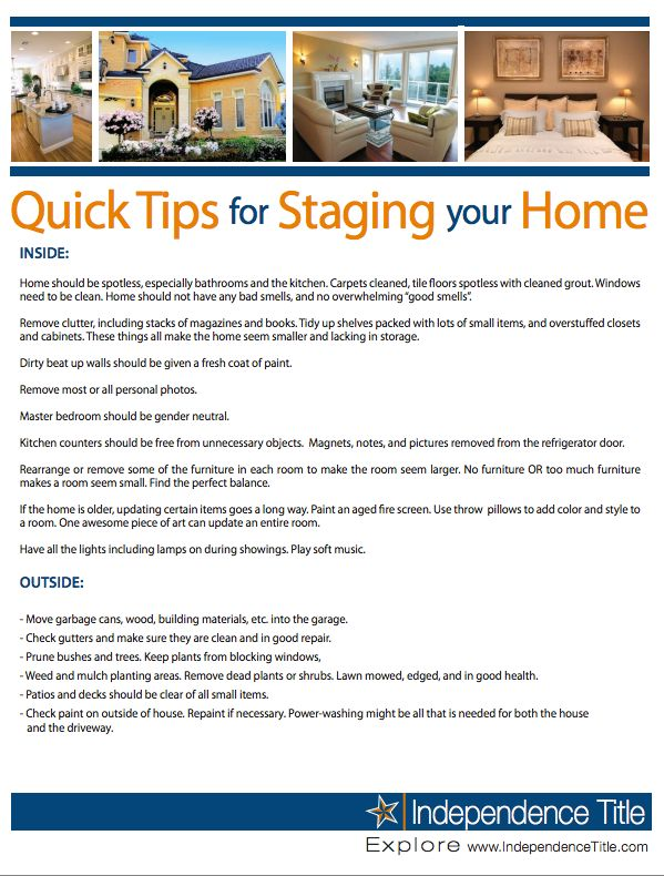 Quick Tips For Staging Your Home To Sell The Home Buying Process Pinterest Home Tips And