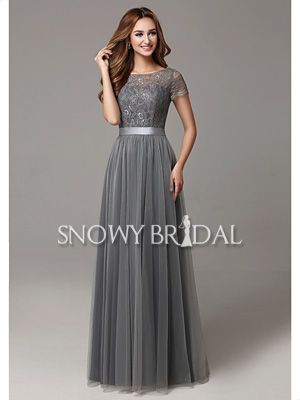 Fancy Glamorous Grey A line Lace Tulle Bridesmaid Gowns Jewel Floor Length Maid Of Honor Dress Ribbons Wedding Party Dress