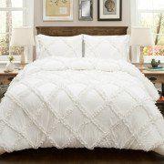 White Ruffle Comforter Set, 3 Pieces