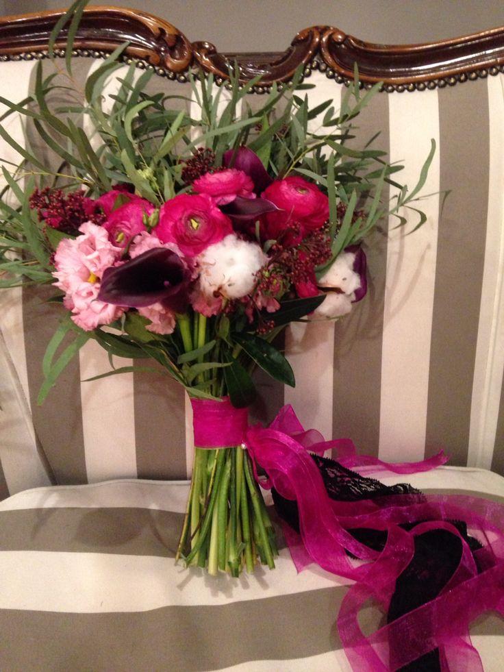 Fuchsia wedding bouquet