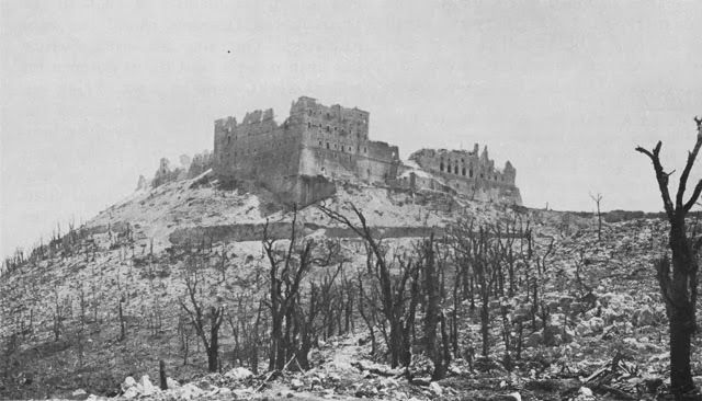 Ruins of the Abbey of Monte Cassino in Italy after Allied bombing on 15 February 1944. (US Army Center of Military History)