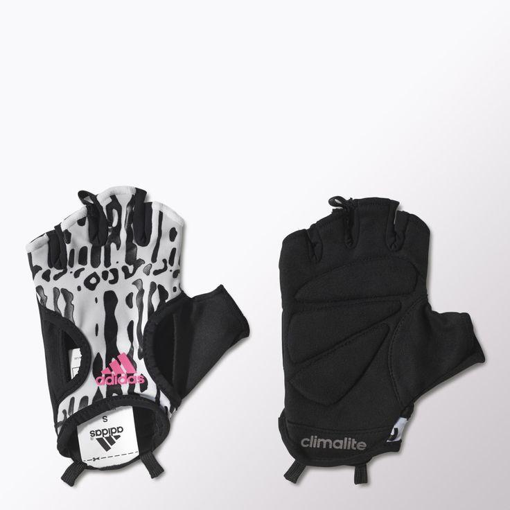 Levanta las pesas cómodamente con estos guantes acolchados de training para mujer. Están confeccionados en tejido transpirable climacool® que mantiene las manos secas y frescas y lucen un atractivo estampado que te da un look muy actual.
