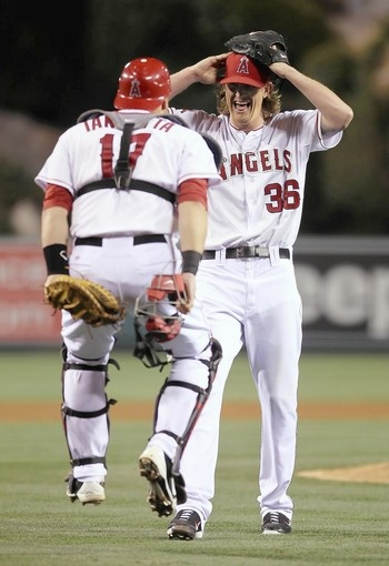 Jered Weaver and Chris Ianetta after Weaver's no-hitter. #teamwork